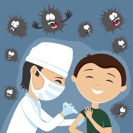 Arts maakt vaccinatie.