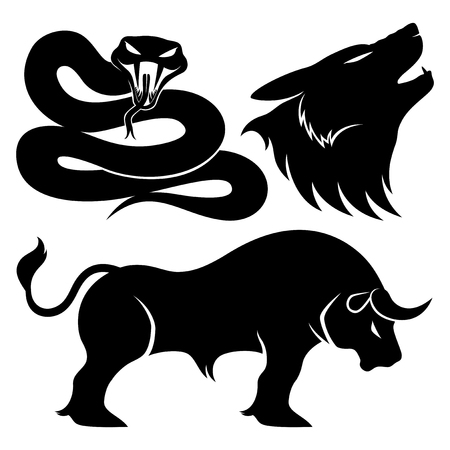 bull snake: Snake, wolf and bull. Illustration