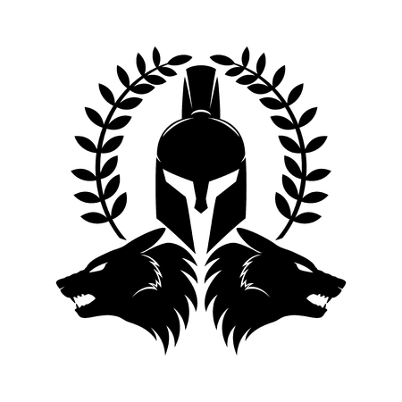 Spartan helmet and wolf heads.