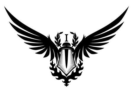 Sword and wings.
