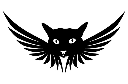 Cat angel sign. Illustration