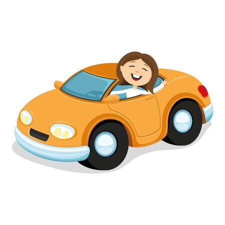 car: Orange car.