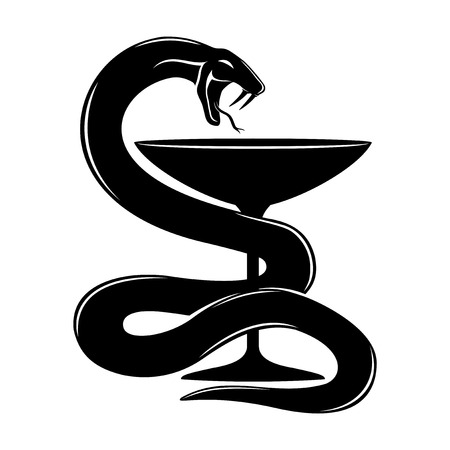 practitioner: Snake with a cup. Illustration