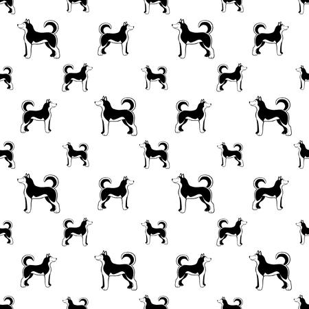 Siberian husky dog ??seamless background. Vector Illustration
