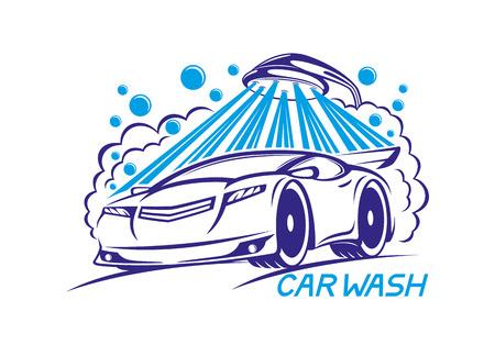 car: Car wash sign.
