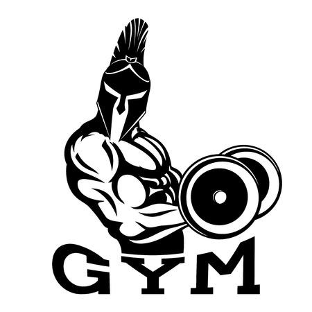 Bodybuilder spartan in the gym. Illustration