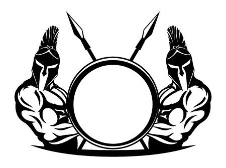 Spartans with shield and spears. Illusztráció