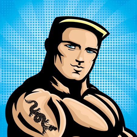 militaire sexy: Homme sexy avec tatouage de dragon. Illustration