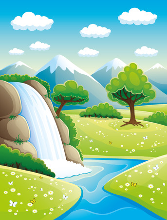 Waterfall and mountains.