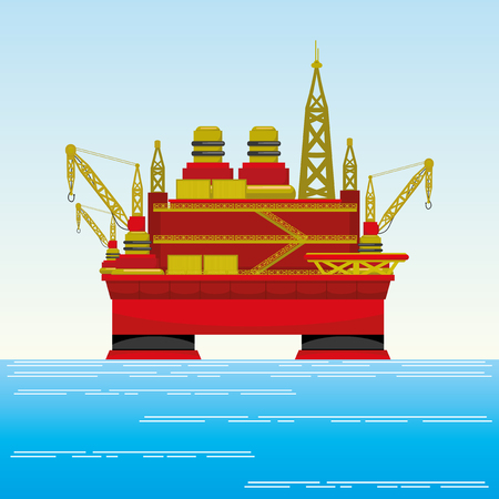 oil and gas industry: Oil platform in the sea.