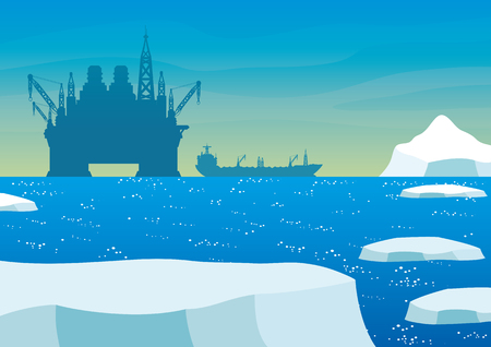 Oil platform and oil tanker in the Arctic. Illustration