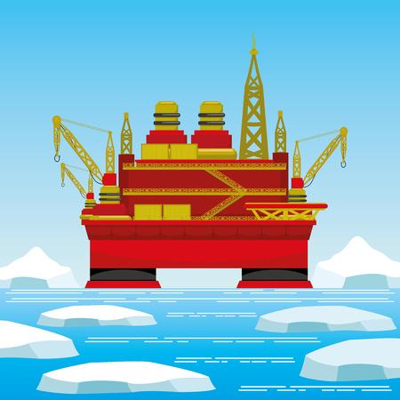 Oil platform in the Arctic. Illustration