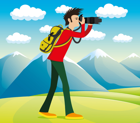 Illustration of photographer in the mountains.