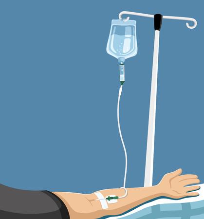 Mano del paciente en la cama en el hospital. Ilustración de vector