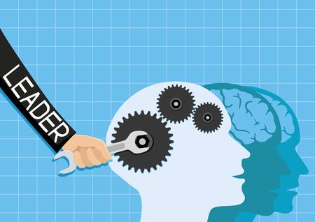 Leader repairs brains. Illustration