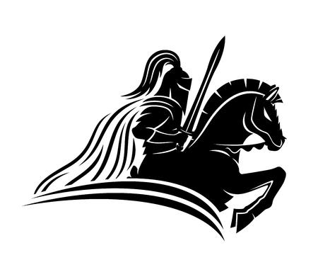 Rycerz na koniu. Ilustracje wektorowe