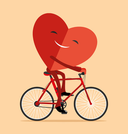 Heart on a bicycle. Illustration