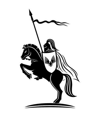 Een ridder op een paard. Stock Illustratie
