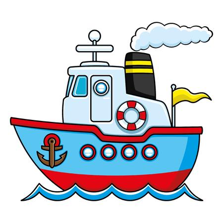Blaues Schiff Standard-Bild - 81106319