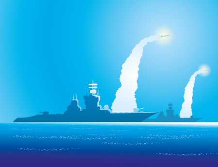 Warships in the sea. Stock Vector - 81150109