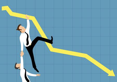 비즈니스 그래프 아래로 떨어지고있다.