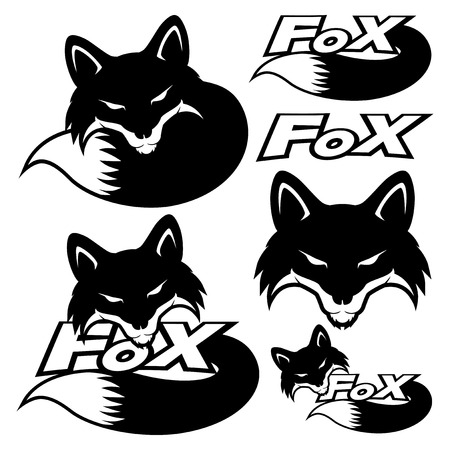 Fox sign set. Illustration
