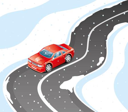 Rode auto op een winterweg. Stock Illustratie
