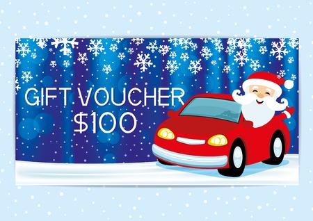 Gift voucher with Santa Claus.