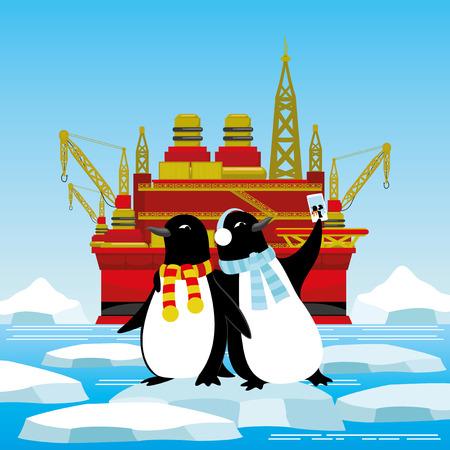 Pingouins sur la banquise. Banque d'images - 82985205