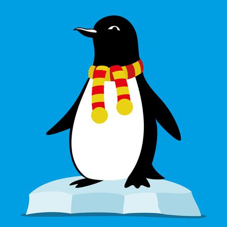 Pinguïn op de ijsschots. Stock Illustratie