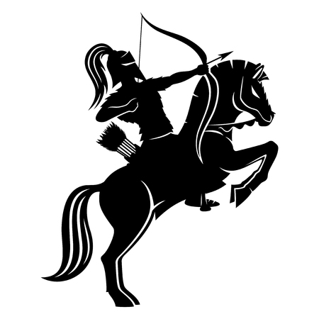 Strijdersboogschutter te paard. Stock Illustratie