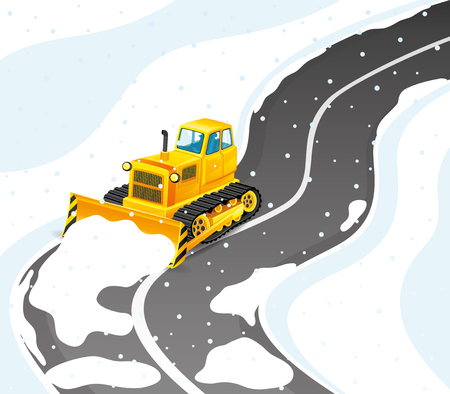 Yellow tractor cleans road from snow.
