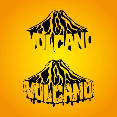 Beautiful volcano on yellow background