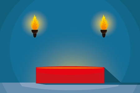 Red podium in a dark room with torches. vector illustration. Illustration