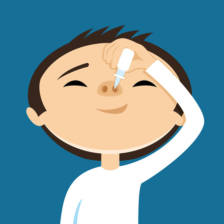common cold: Treatment of the nose. vector illustration.