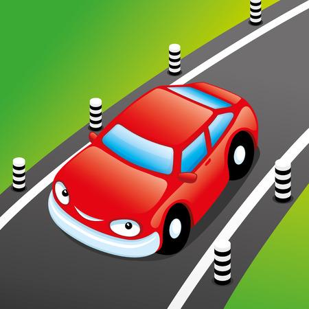 Rode auto op de weg. Stock Illustratie