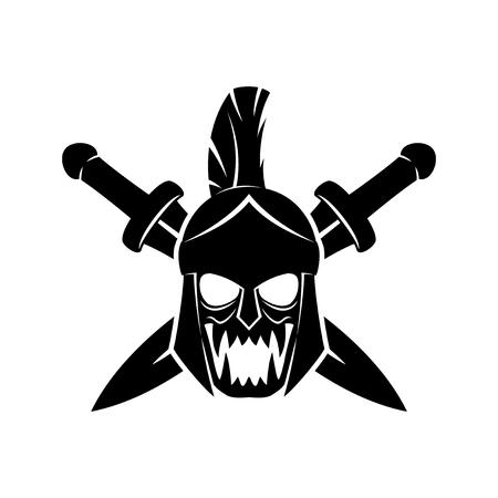 Spartan helmet and crossed swords. Illustration