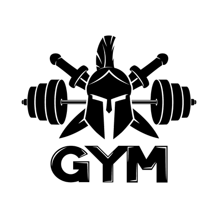 Gym sign with spartan helmet.