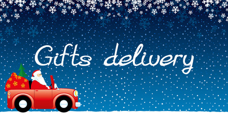 Gifts delivery on blue background.