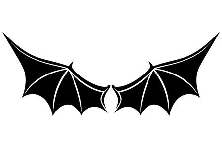 Zwarte vleugels ondertekenen. Stock Illustratie