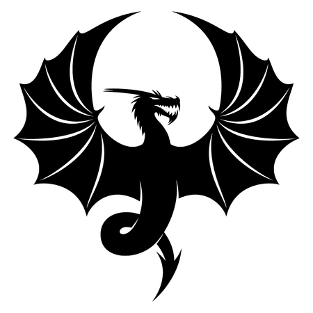Black dragon sign on white background, vector illustration.