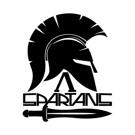 Spartan helmet sign. Vector illustration.