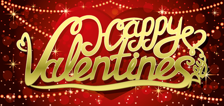 Happy Valentines Day lettering on red background