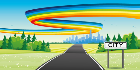 The road to the city and the rainbow in the sky.