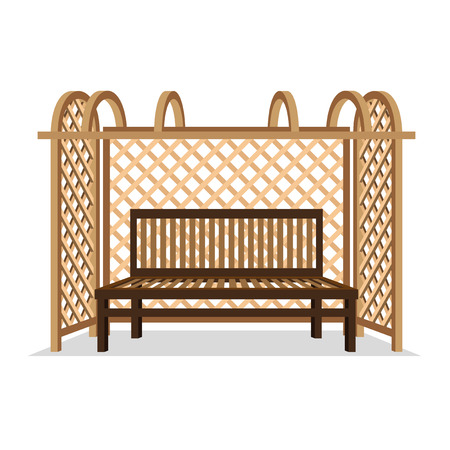 Wooden bench with pergola.
