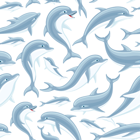 Dolphins in seamless pattern.