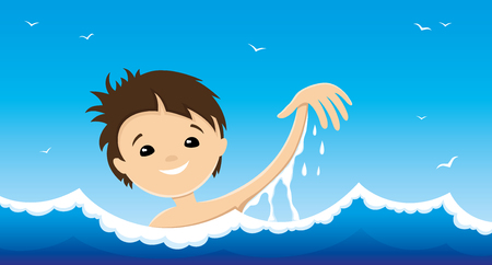 The child is swimming in blue water.