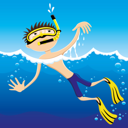 Diver in a yellow mask in blue water. Illustration