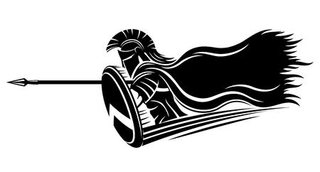 Spartano con una lancia e uno scudo. Vettoriali