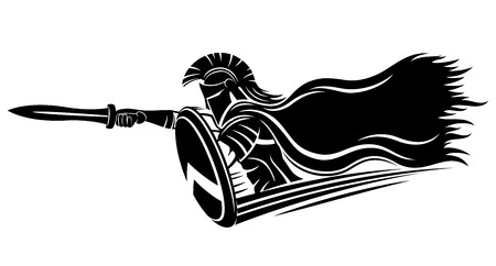Spartan with sword and shield. Illustration